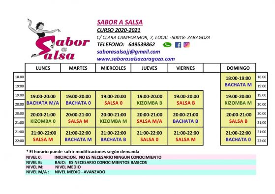 calendario de nuevos cursos de bailes latinos de salsa, bachata y kizomba